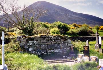 graveyard with croagh patrick in the background
